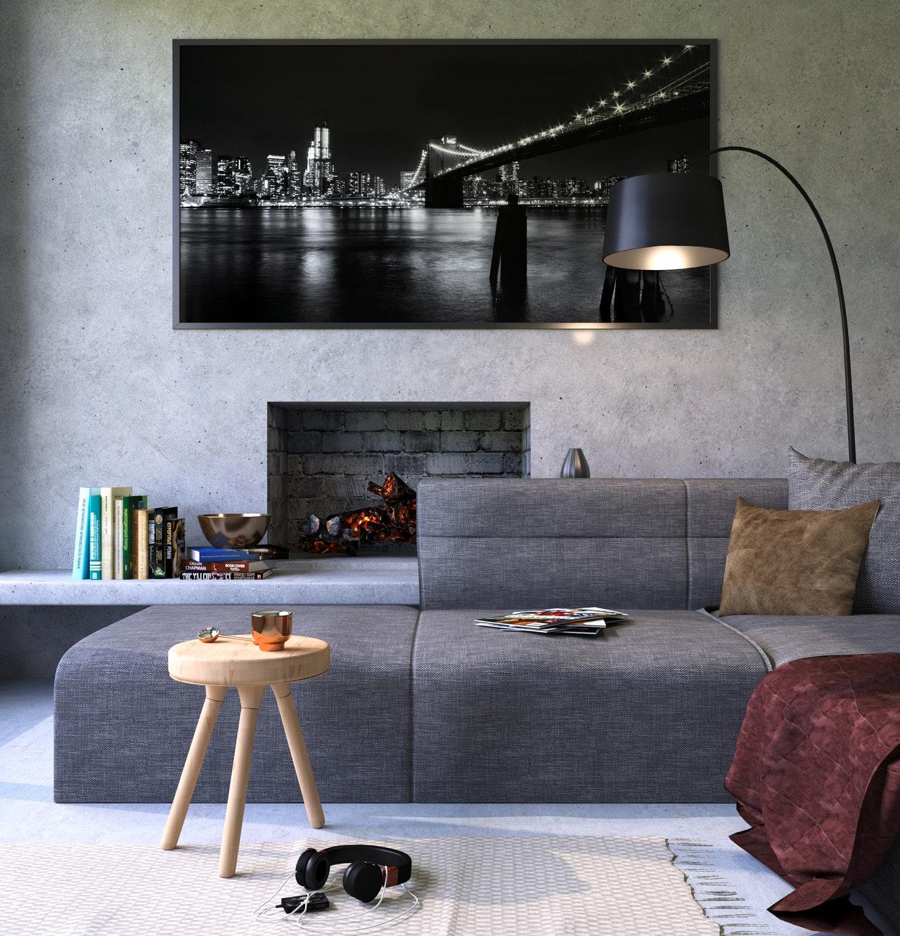 Photographie d'un salon avec canapé